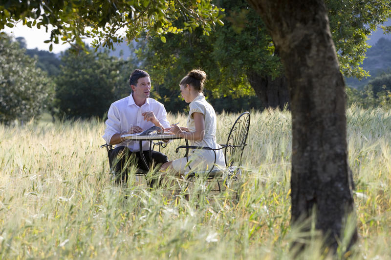 Business people meeting at table in rural field stock photo