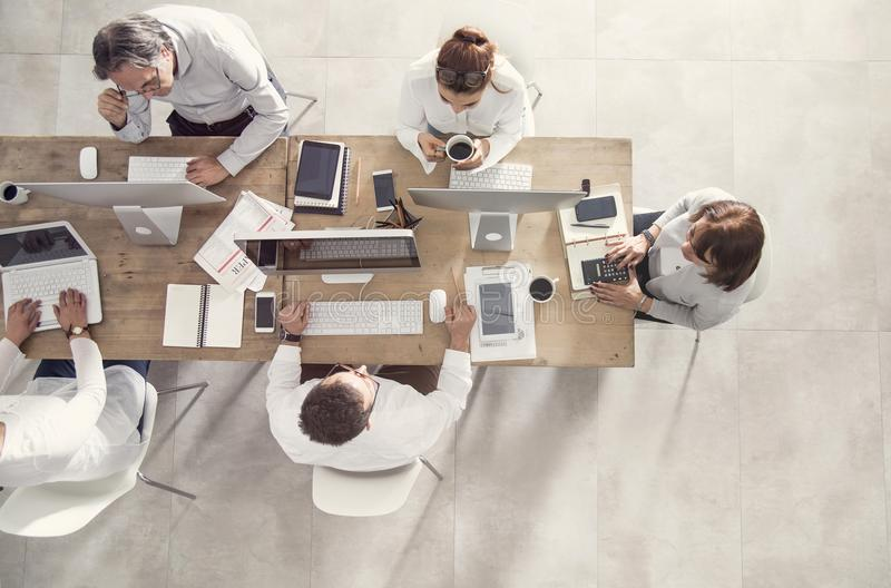Business people in meeting table top view royalty free stock photo