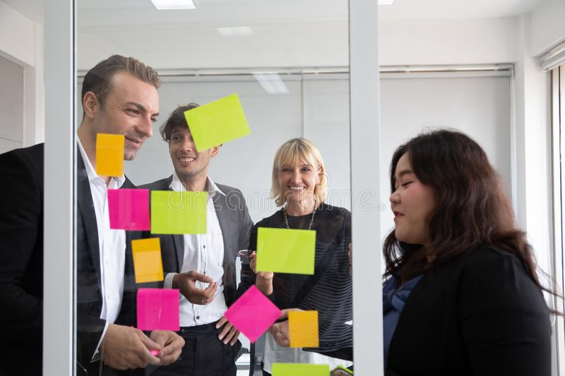 Business people meeting team, briefing and discussing new plan. Analyzing with teamwork on project in office royalty free stock photography