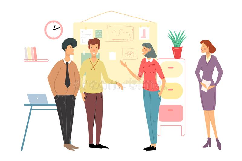 Business people meeting. Team discussion. Negotiate new projects and plans. Business strategy discussion cartoon vector stock illustration