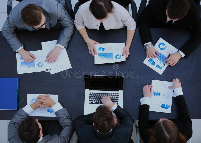 Business People on a Meeting. Top view. stock image