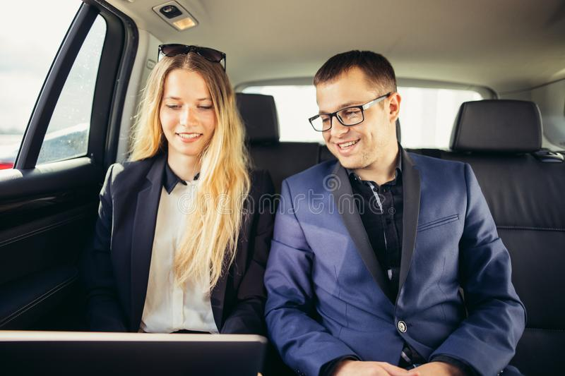 Business People Meeting Working Car Inside stock photography