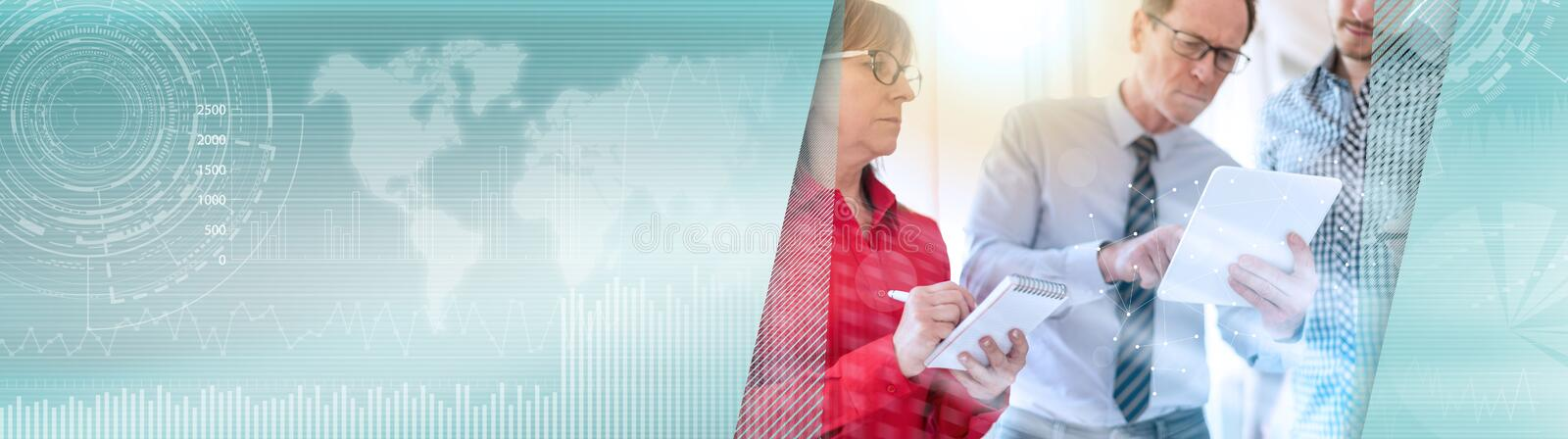 Business people in meeting working on tablet, overlaid with network, light effect. panoramic banner. Business people in meeting working on tablet in office stock photography