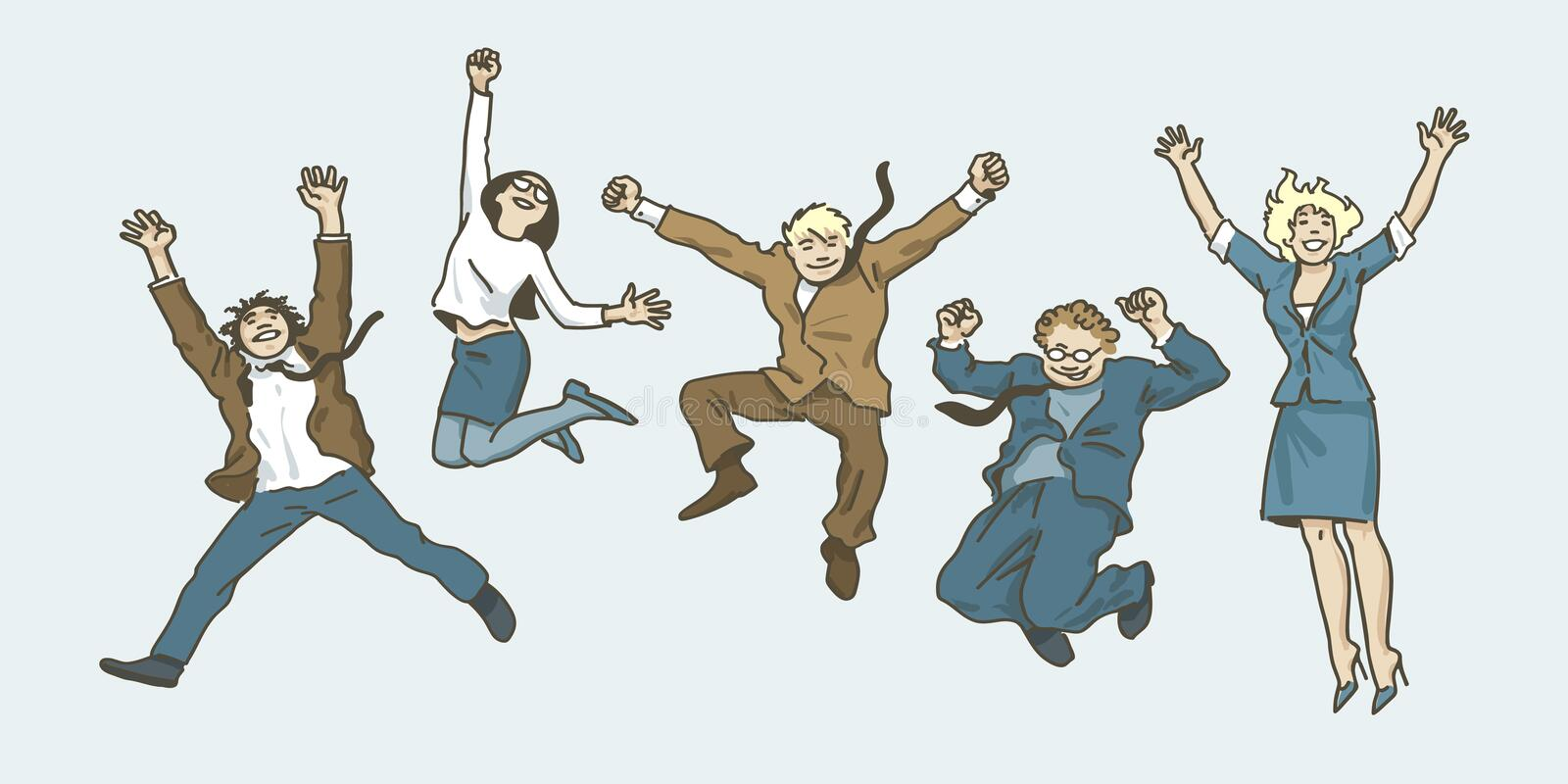 Business team jumping. Success teamwork concept. Vector. Business people men and women jumping for joy. Happy team jump high. Office workers celebrating victory vector illustration