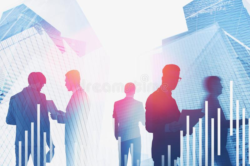 Business people in modern city, digital graphs stock images