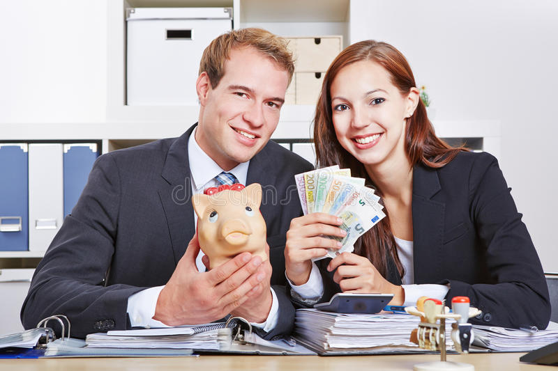 Business people with money royalty free stock photos