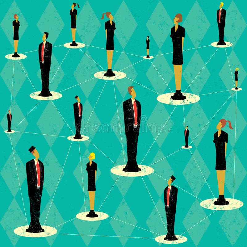Business People Network. A symbolic network of business people. The people and background are on separate labeled layers stock illustration
