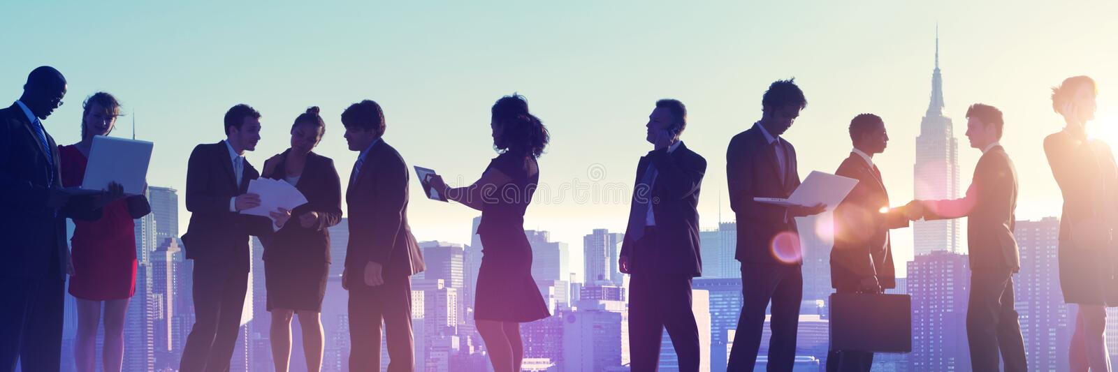 Business People New York Outdoor Meeting Silhouette Concept royalty free stock photos