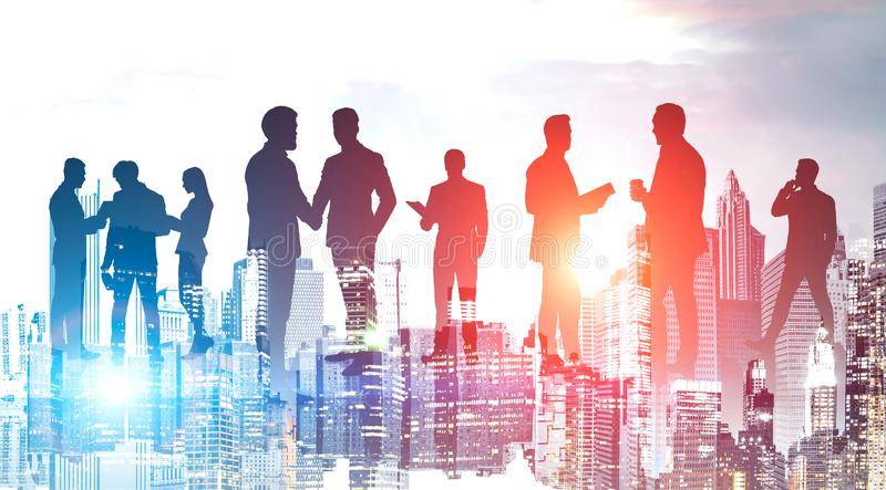 Business people in night city. Teamwork royalty free stock photo