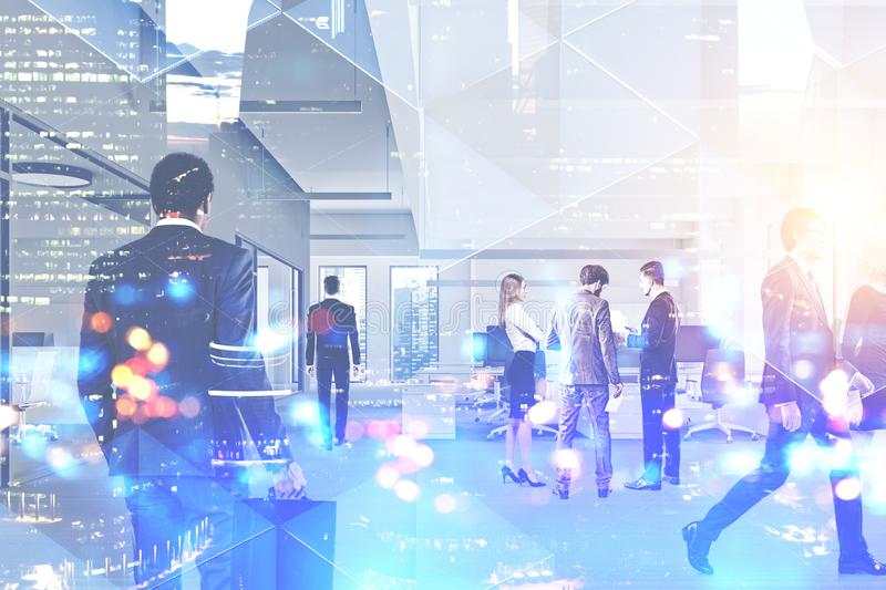 Business people in office, cityscape. Business people walking in modern office over cityscape background. Corporate lifestyle concept. Toned image double stock photos