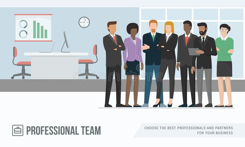 Business people in the office. Confident multi-ethnic business people posing together in the office, corporate business and cooperation concept vector illustration