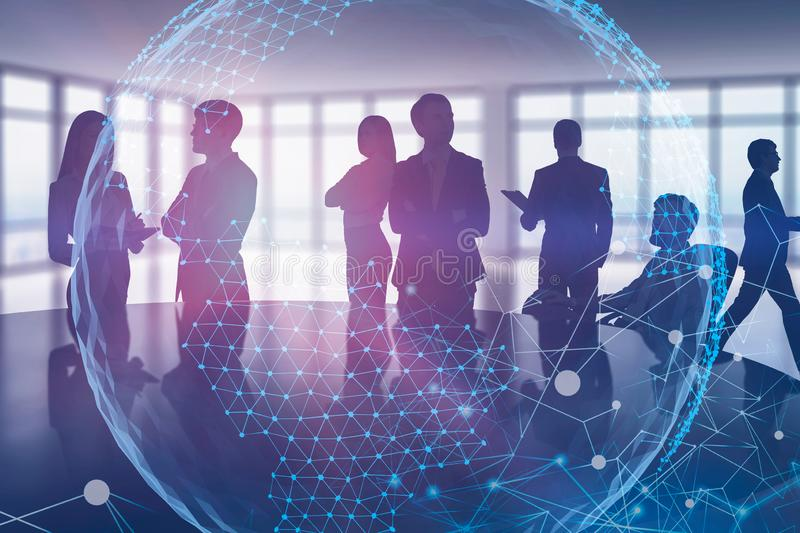 Business people in office, global digital world royalty free stock image
