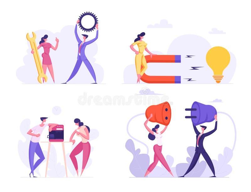 Business People Office Life Routine, Coffee Break Conversation, Technical Support, Creative Idea, Teamwork Business vector illustratie
