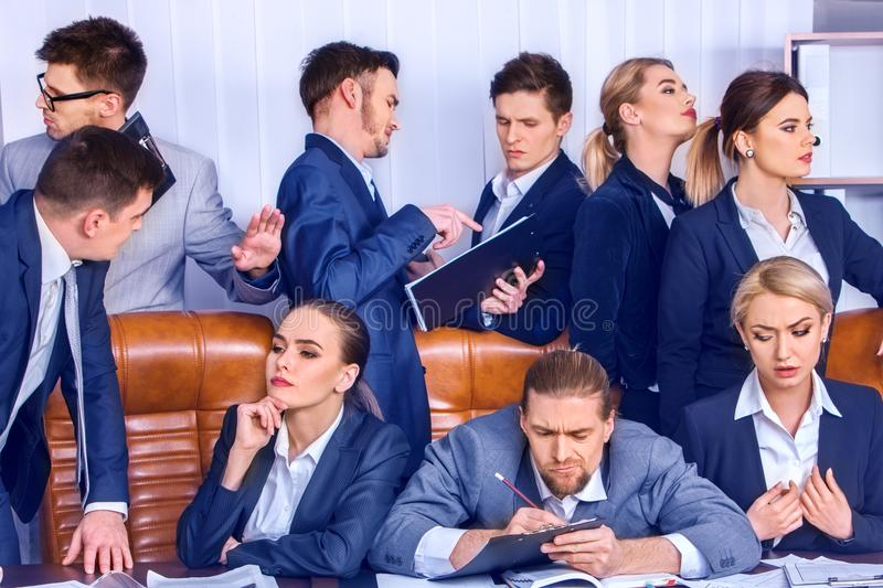 Business people office life of team people are happy with paper . royalty free stock images
