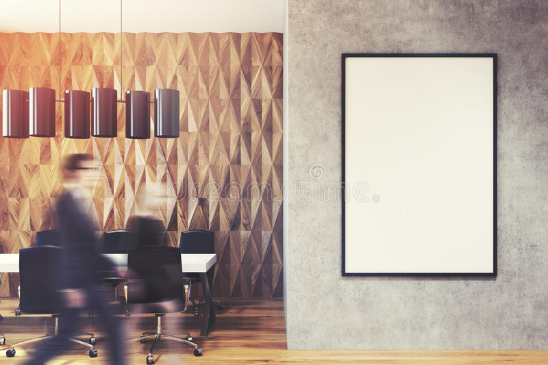 Business people in office lobby, diamond wall royalty free stock image