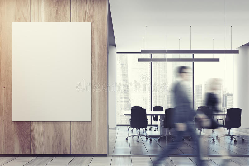 Business people in office lobby, wooden wall stock photo