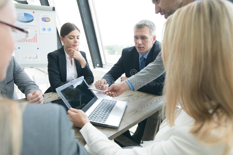 Business people at office meeting royalty free stock photos
