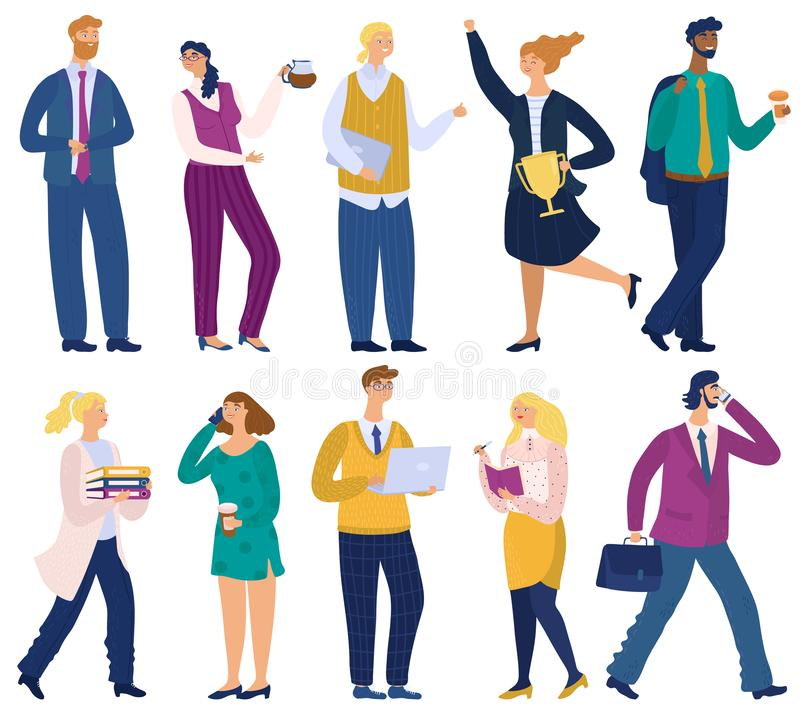 Business people in office. Professional workers characters. Man working on laptop. Happy woman speaking to mobile and royalty free stock photography