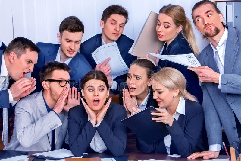 Business people office. Team people are unhappy with their leader. royalty free stock photo