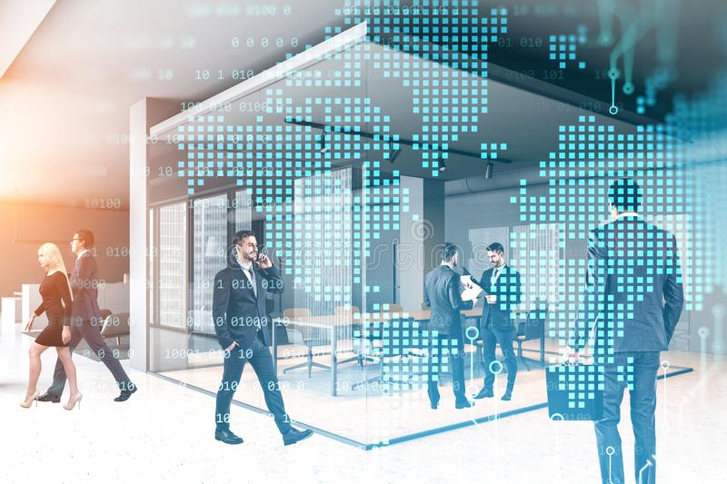 Business people in office, world map royalty free stock image