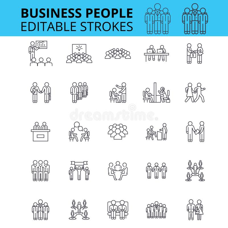 Business people ouline vector icons. Editable strokes. Group of business people signs set. Business team concept thin stock illustration