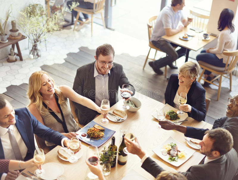Business People Party Cheers Enjoying Food Concept royalty free stock photos