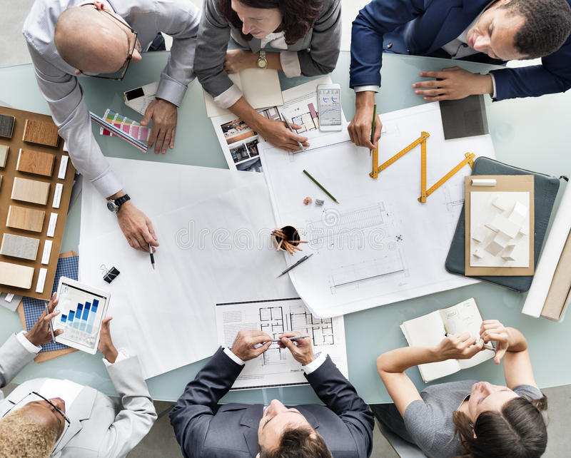Business people planning blueprint architecture concept stock image download business people planning blueprint architecture concept stock image image of descent corporate malvernweather Images