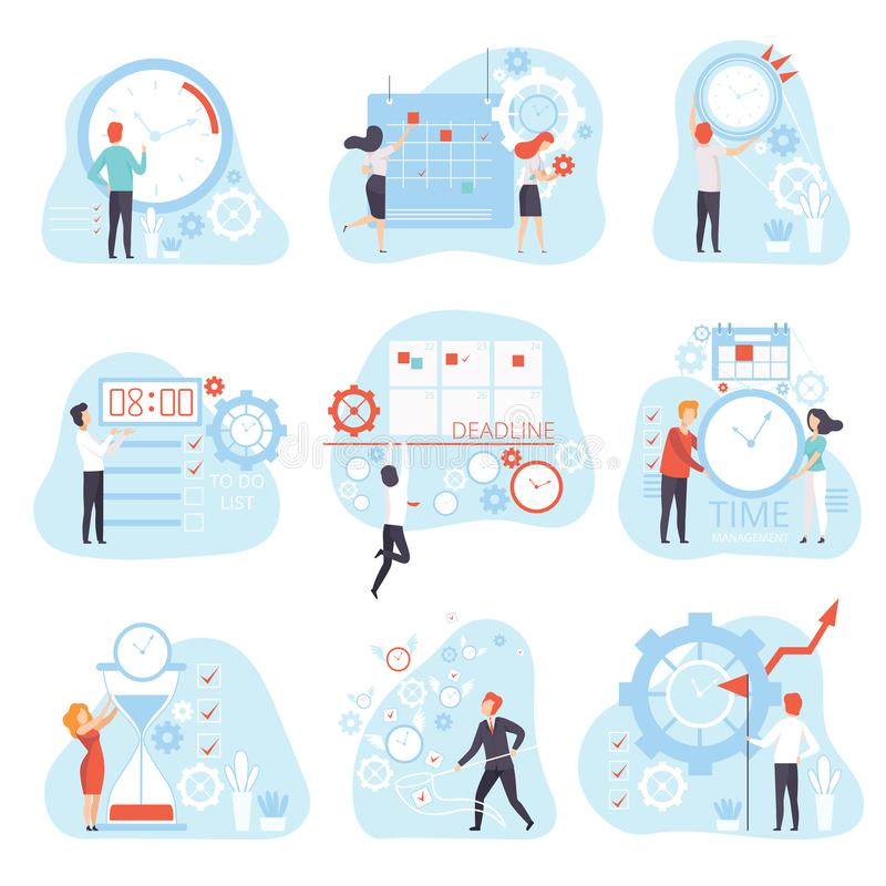 Business People Planning and Controlling Working Time Set, Time Management Business Concept Vector Illustration stock illustration
