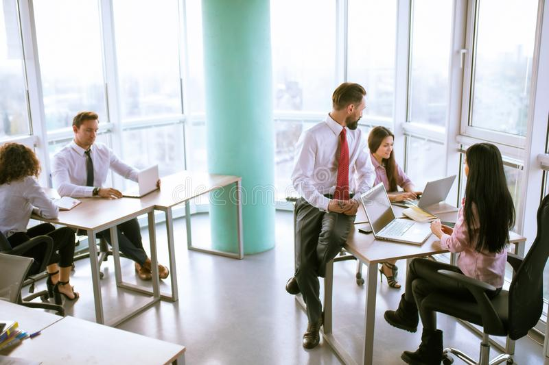 Business people planning strategy analysis. Group of proffessional discussing project steps. Office concept royalty free stock image