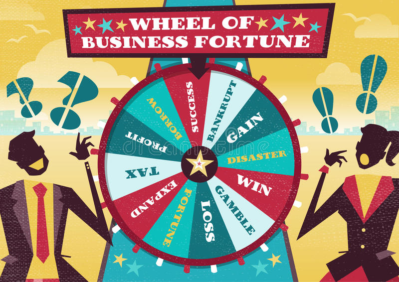 Business People play the Business Wheel of Fortune. Great illustration of Retro styled Business rivals gambling their financial futures on the big spinning royalty free illustration