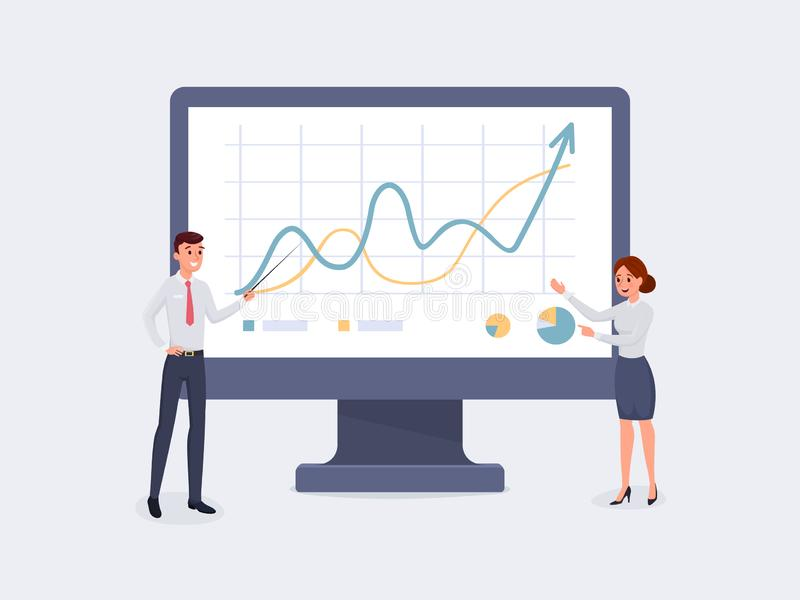 Business people pointing to monitor vector illustration