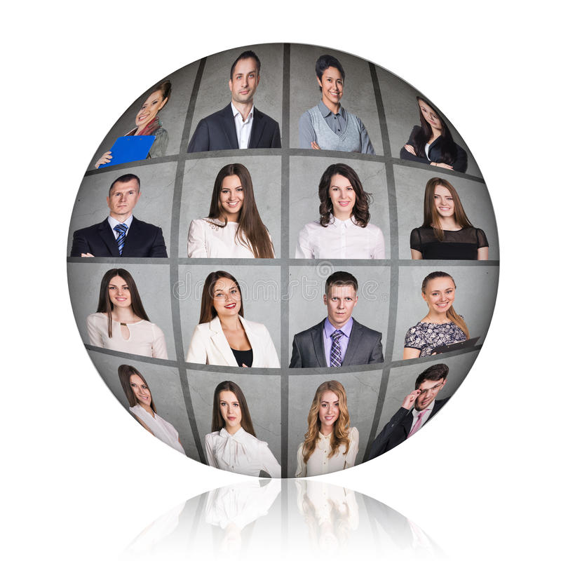 Business people portrait collage. Square shape. Gray background stock photos