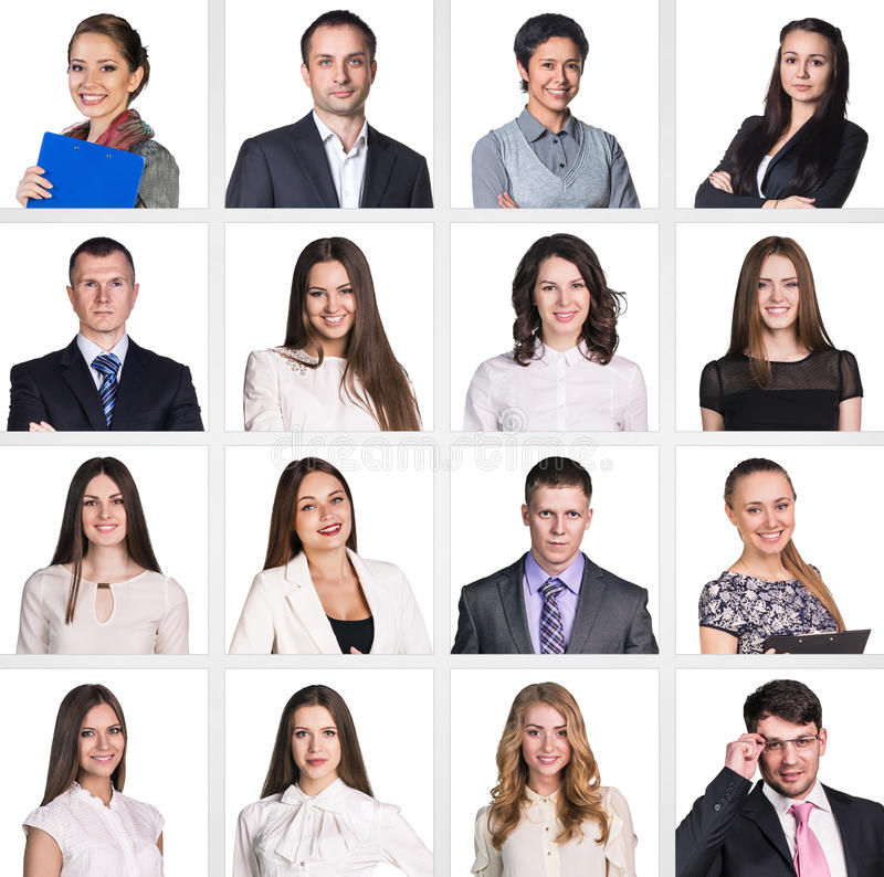 Business people portrait collage. Square shape. White background stock images