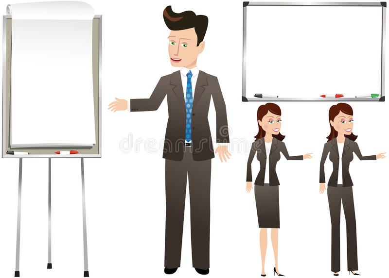 Business people with presentation boards royalty free stock image