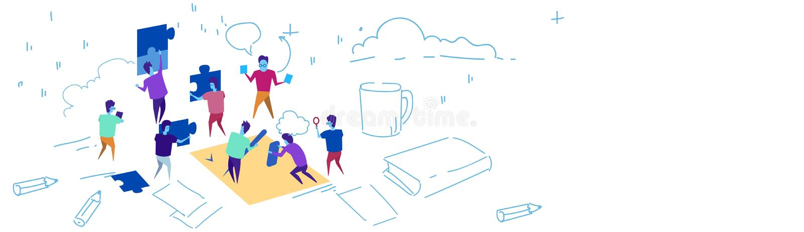 Business people putting puzzle pieces team working jigsaw concept problem solution hardworking process sketch doodle vector illustration