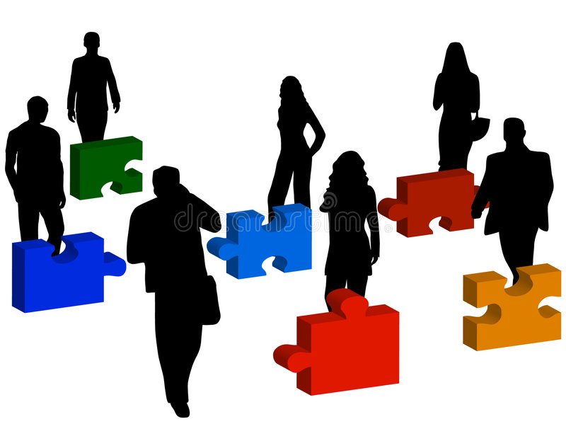 Business people and puzzle royalty free illustration