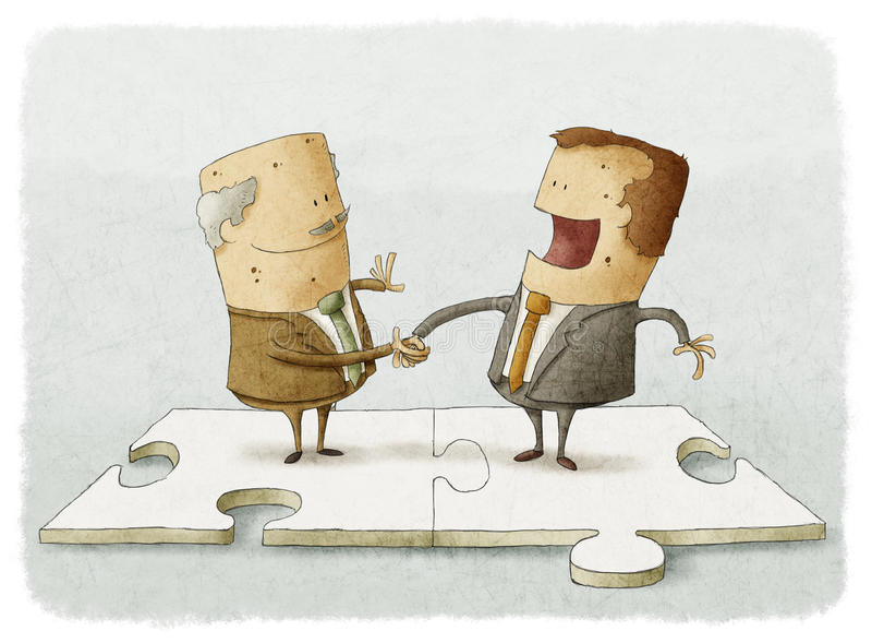 Business people puzzle handshake royalty free illustration