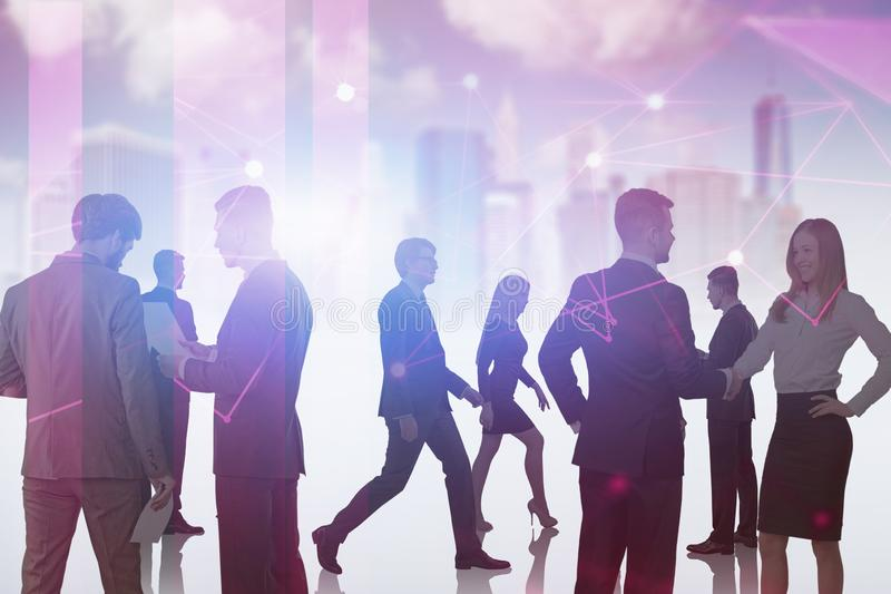 Business people in red city, network interface. Silhouettes of business people working together and communicating over purple cityscape background with network stock images