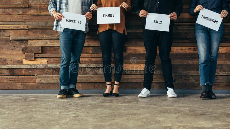 Business people representing their departments royalty free stock photography