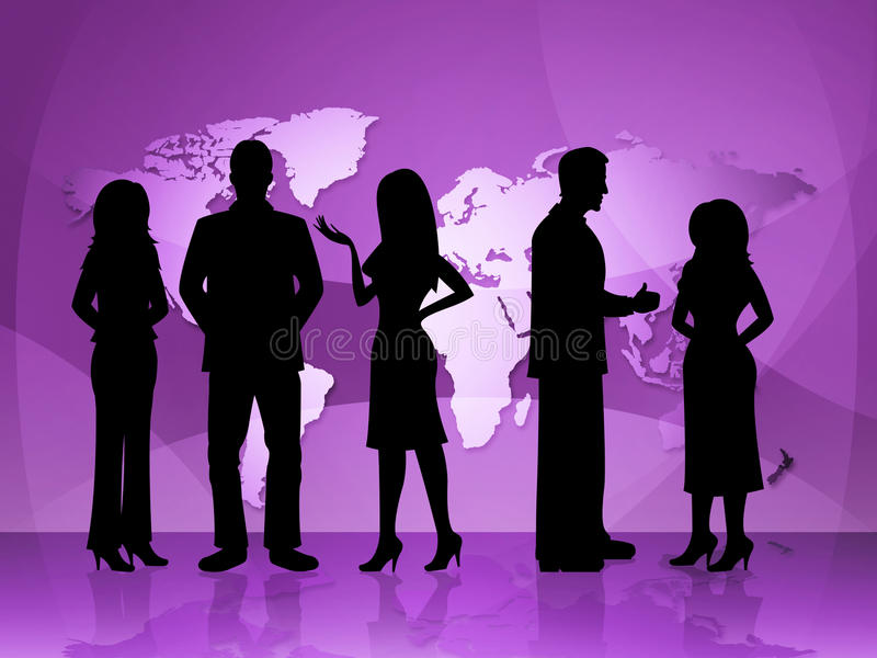 Business People Represents World Map And Businesspeople stock illustration