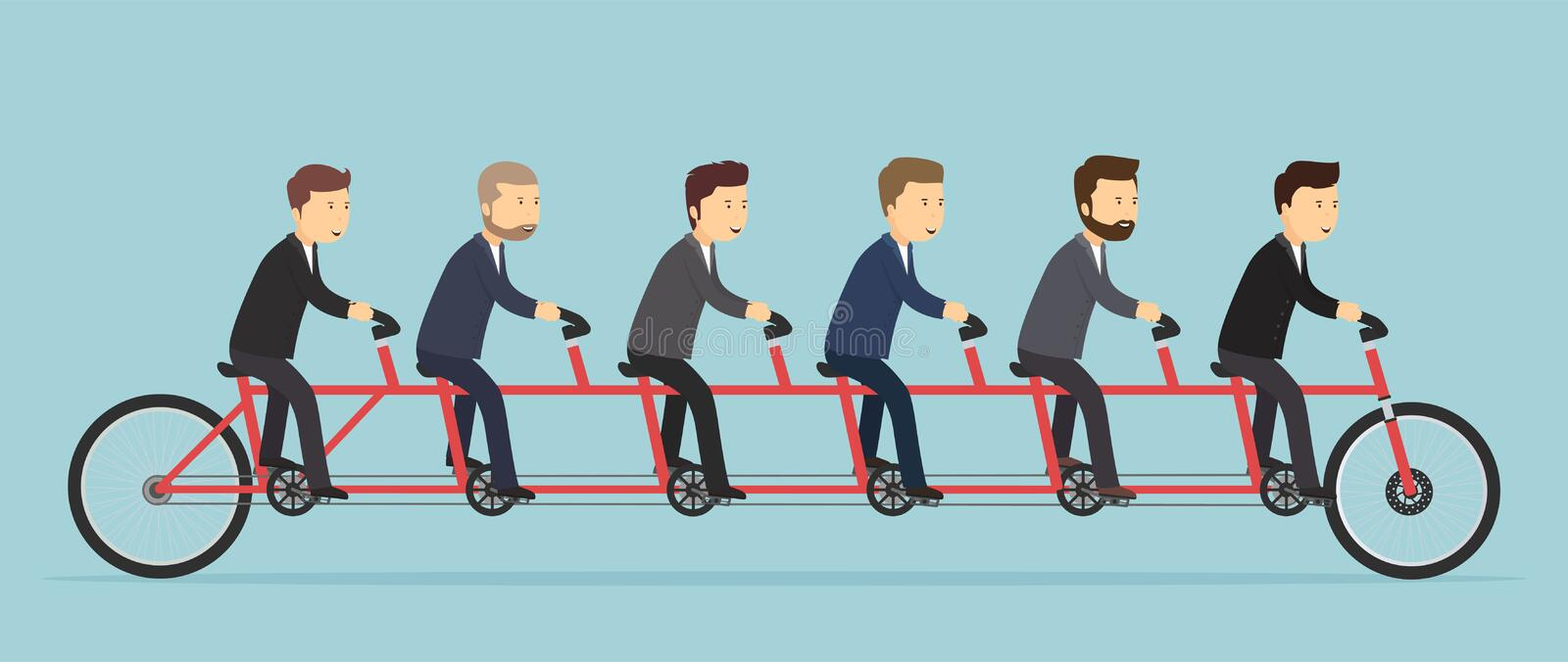 Business people riding on a five-seat bicycle. royalty free illustration