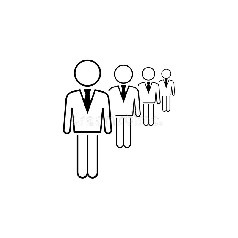 business people in a row icon. Element of business icon for mobile concept and web apps. Thin line business people in a row icon c royalty free illustration
