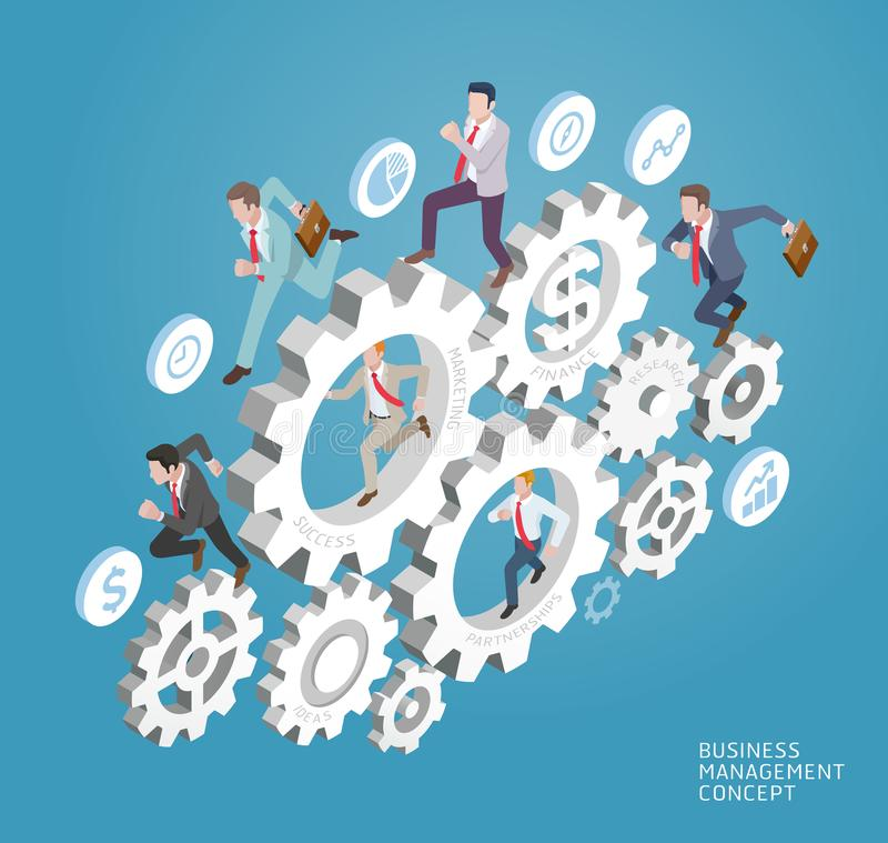 Business people run on gear. vector illustration