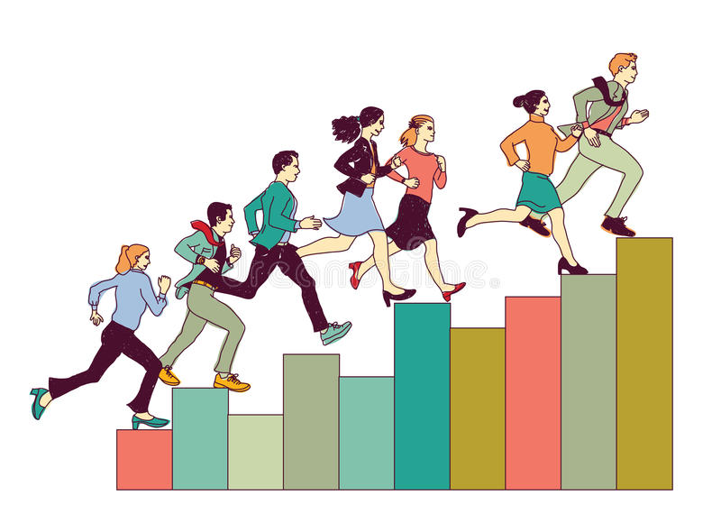 Business people run on graph diagram. Group people run forward. Color vector illustration. EPS8 vector illustration