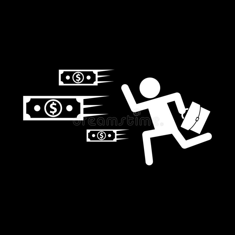Business people run by money for web icons and concepts and symbols on a black background. And flat stock illustration