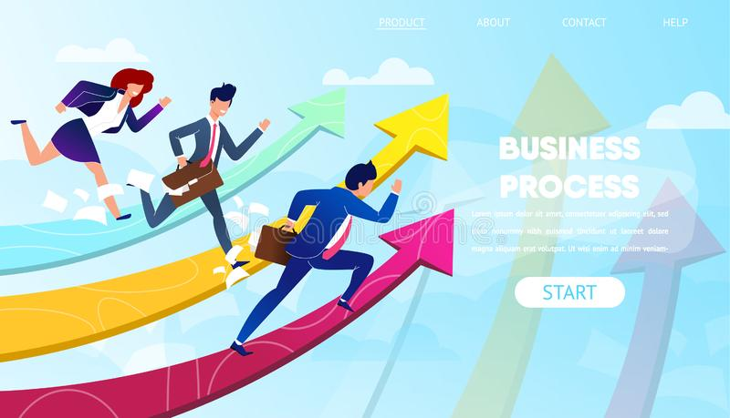 Business People Run to Success on Growing Arrows. vector illustration