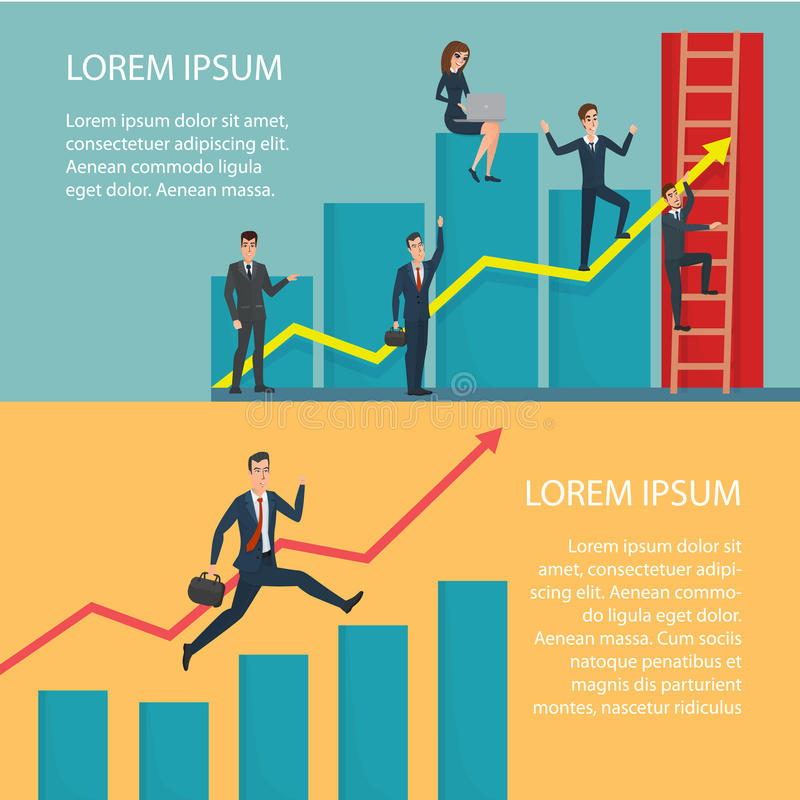 Business People Running Arrow Graph Up Climbing. Cartoon poster. Vector illustration. Banners for your web design in business style. Template for your text royalty free illustration