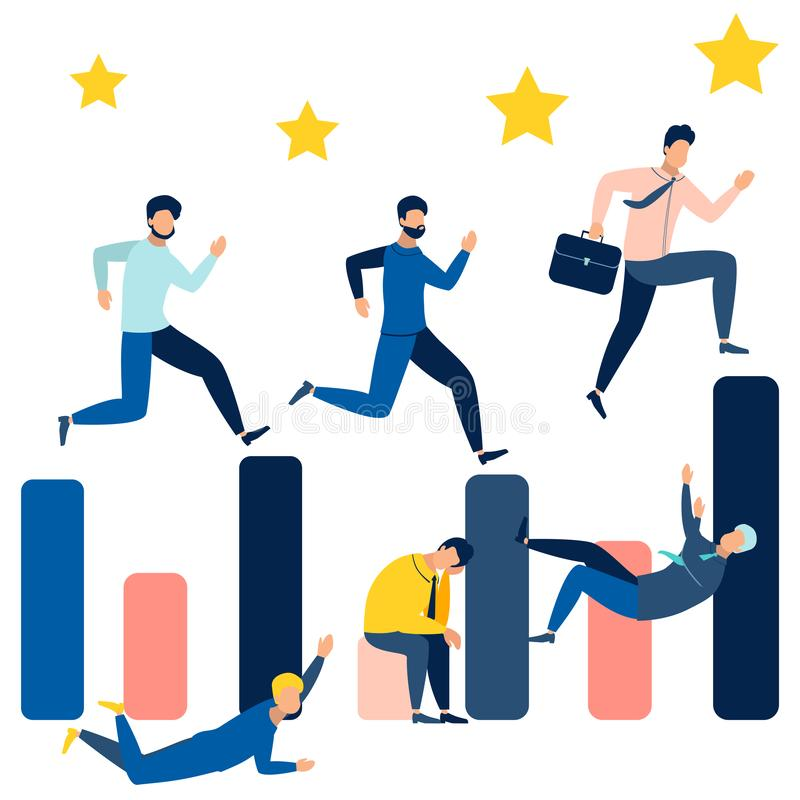 Business people running on the bar chart. Can use for web banner, infographics, hero images. In minimalist style. Flat royalty free illustration