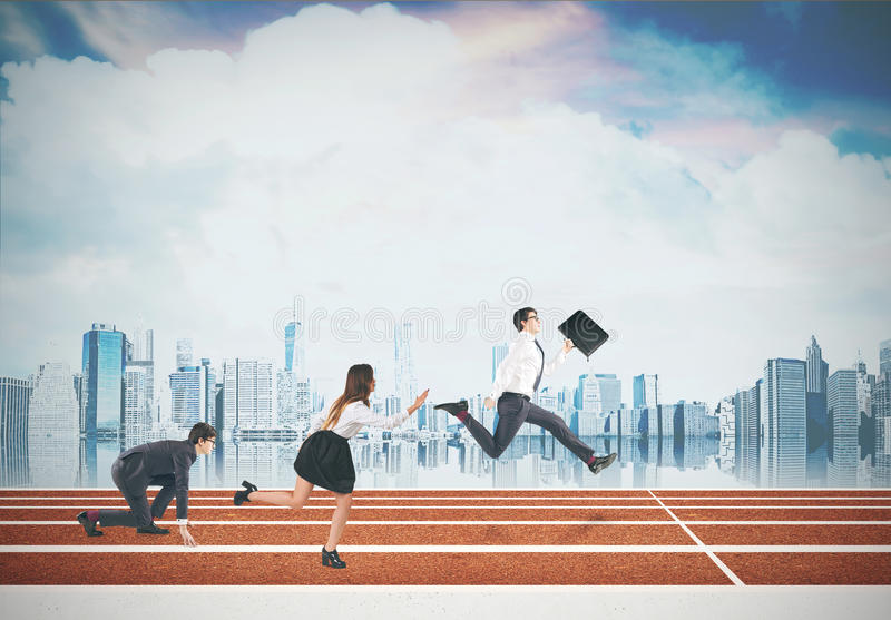 Business people running. Cloudy sky, city view royalty free stock photography