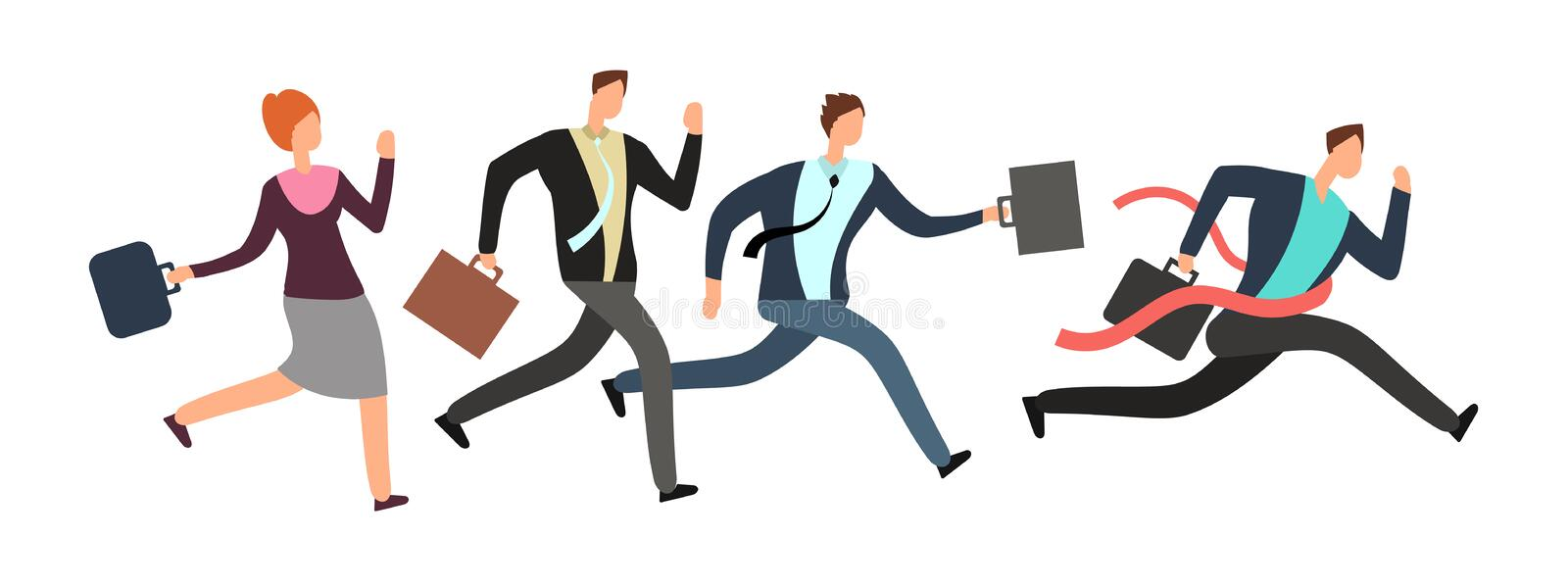 Business people running with leader crossing finish line. Teamwork and leadership vector concept stock illustration